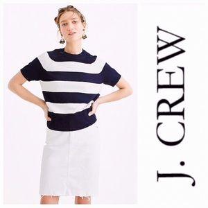 J. Crew Crewneck Short Sleeve Blue Stripe Sweater